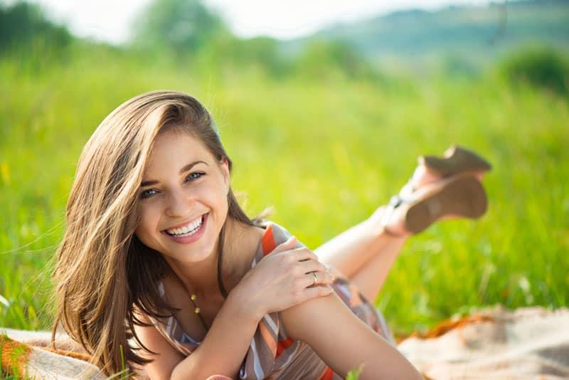 beautiful girl smiling in nature