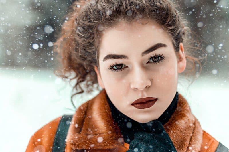 beautiful woman on snow