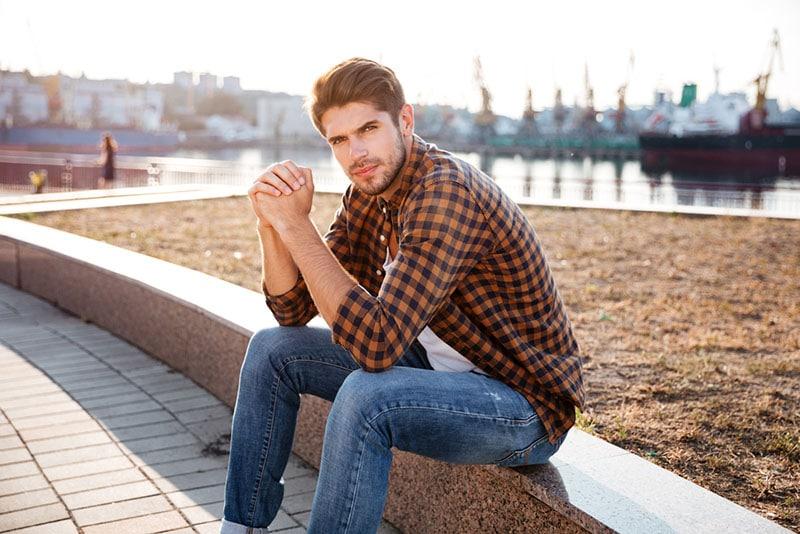 serious man posing