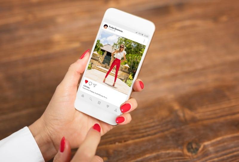 woman posting on social media
