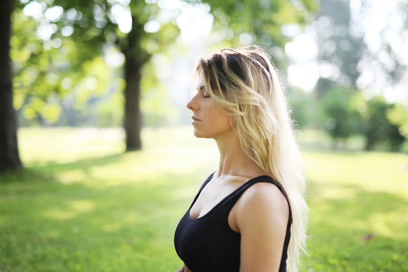 lovely woman in park