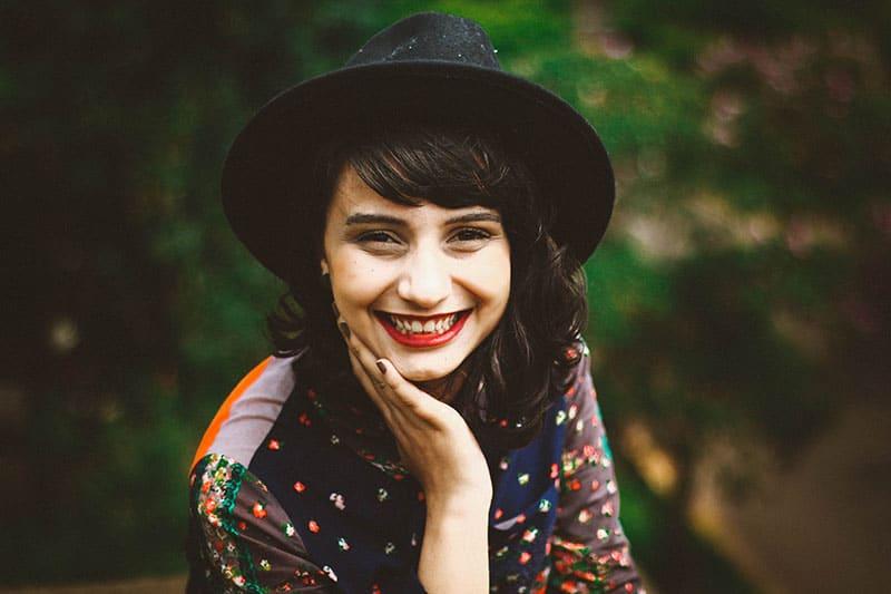 woman in a cute hat