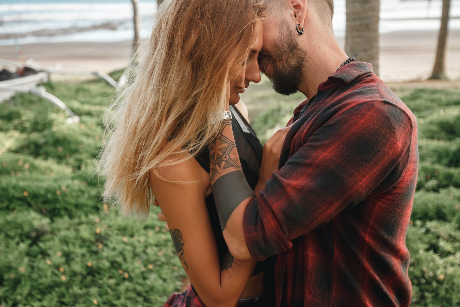couple cuddling outdoor
