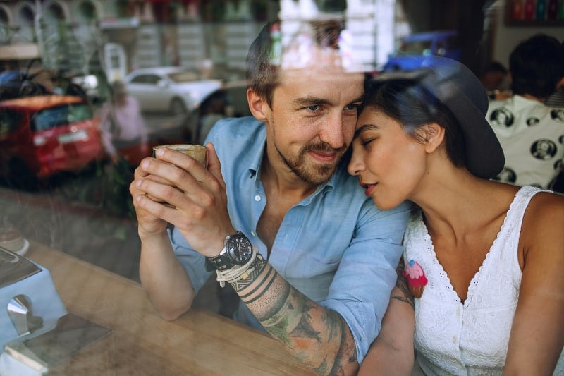 couple in love enjoying afternoon coffee