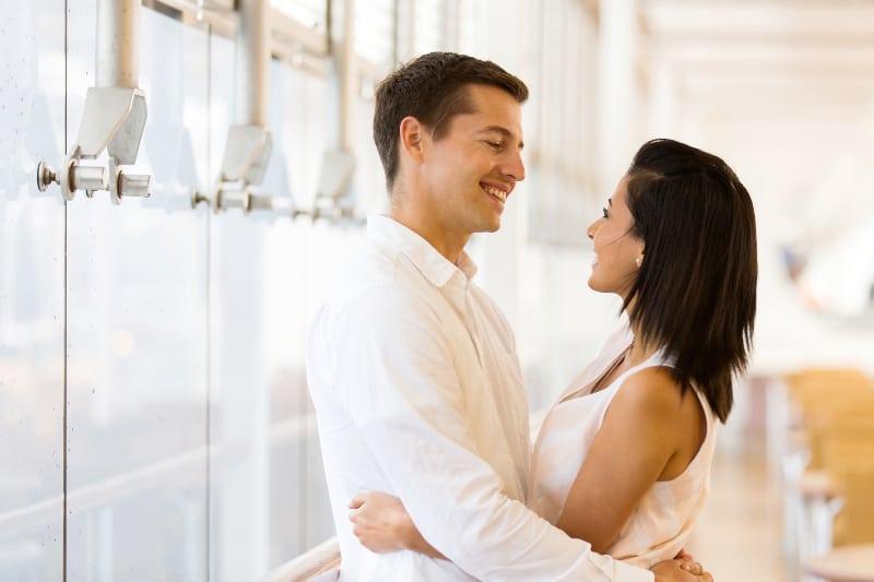 couple in love standing in hug