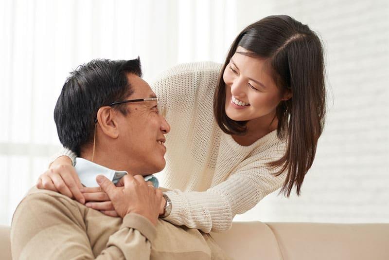daughter hugging her dad