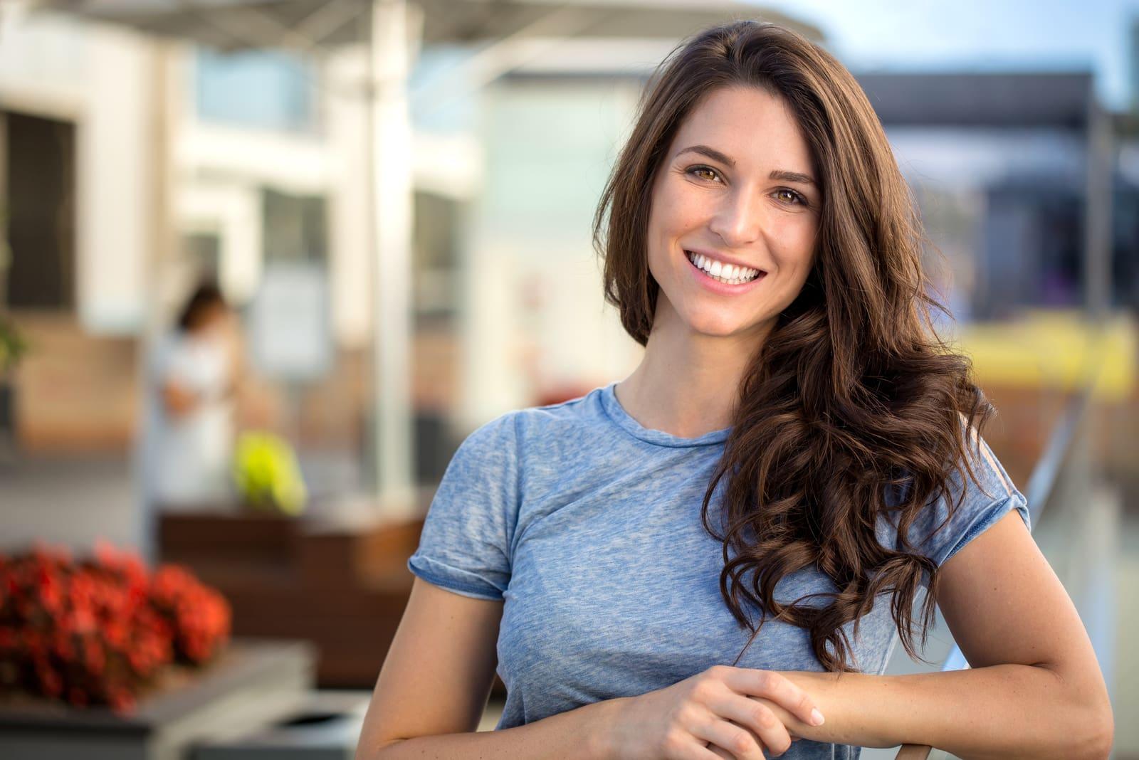 happy brunette smiling