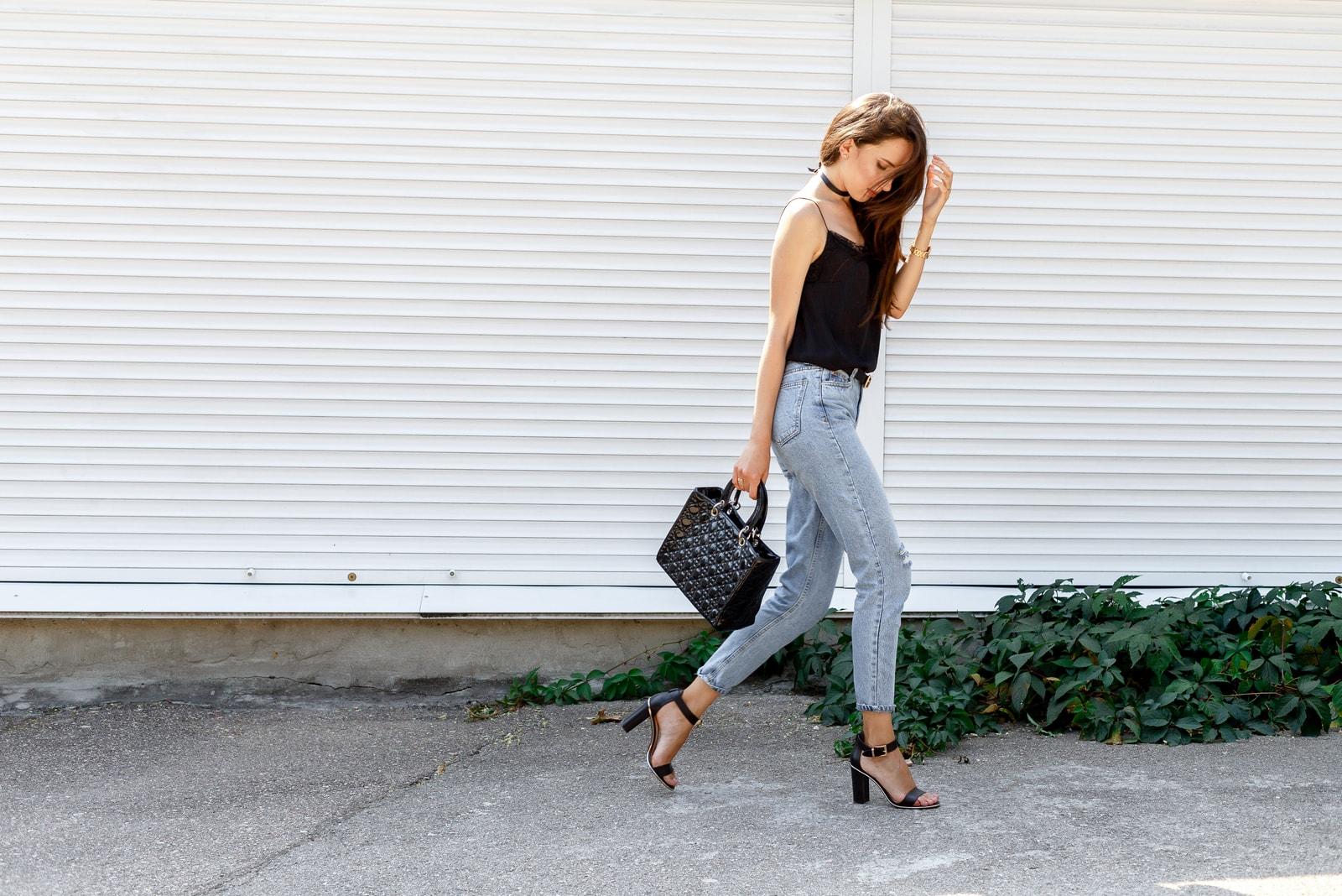 stylish woman wearing heel sandals