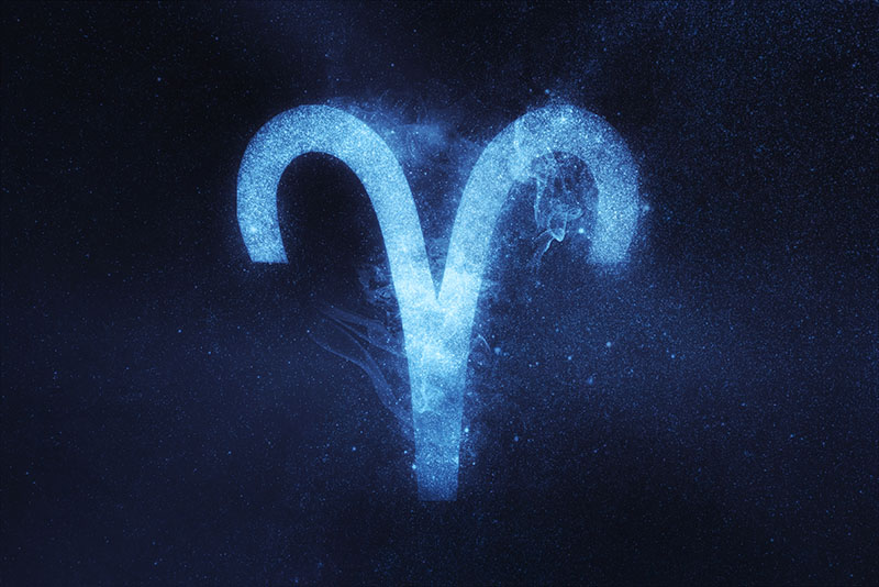 Aries Zodiac Sign. Abstract night sky background