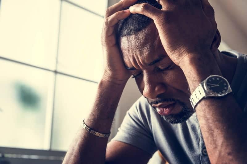 Guy has headache