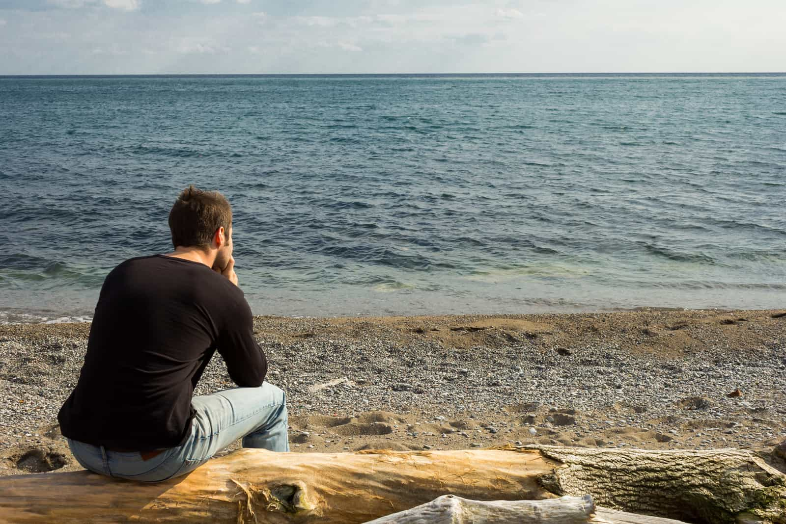a man sits on a tree and looks out to sea