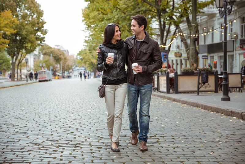 couple walking on the street