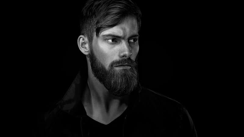 black and white picture of a serious man