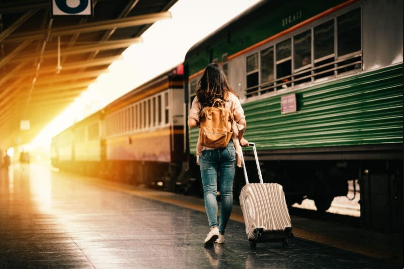 woman with her baggage going in the train - sunset