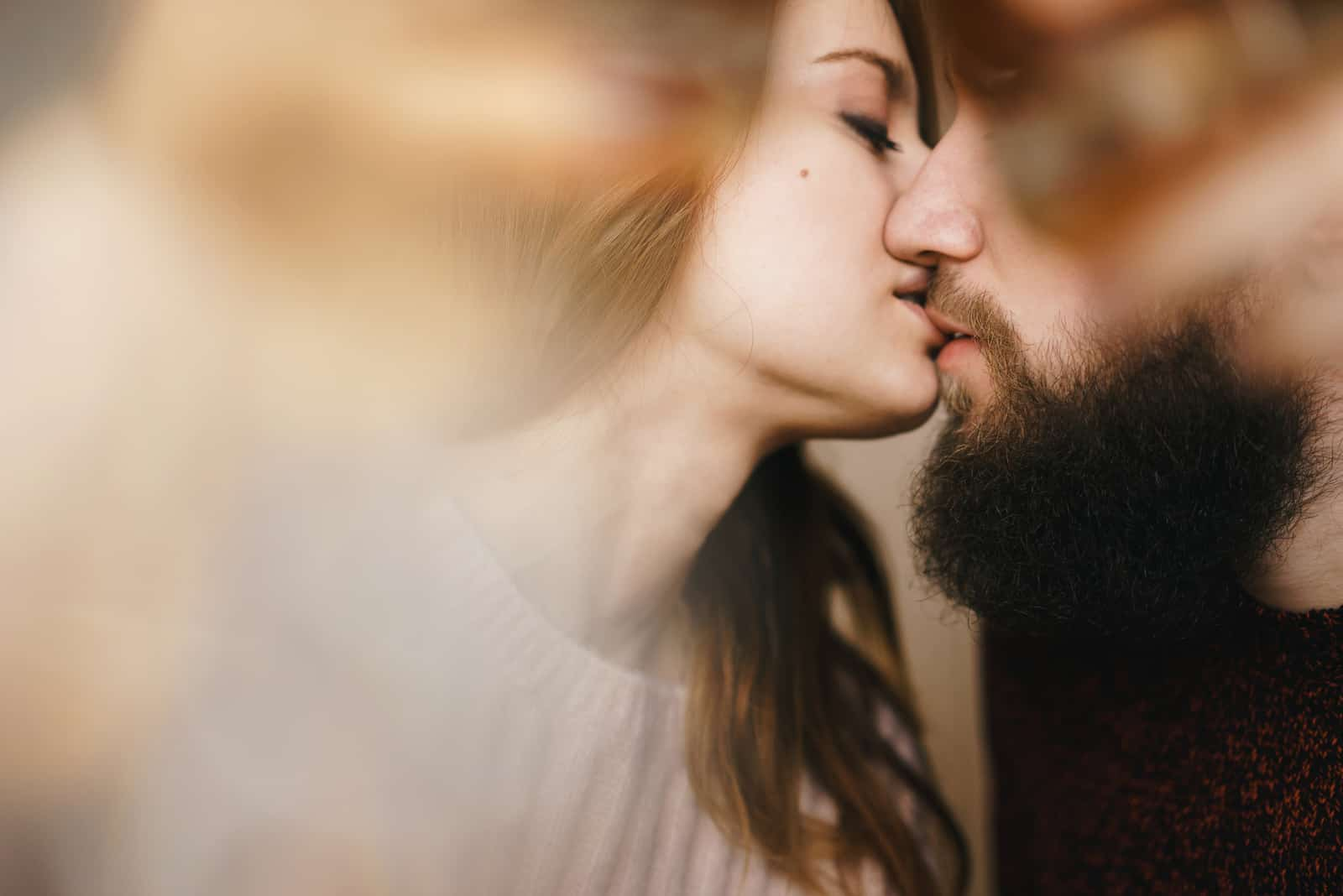 a couple in love kissing