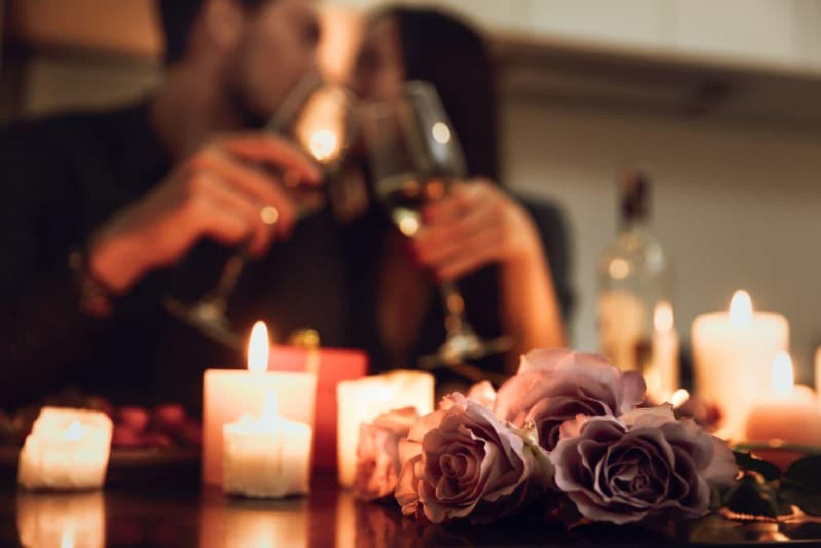 couple drinking wine and celebrating