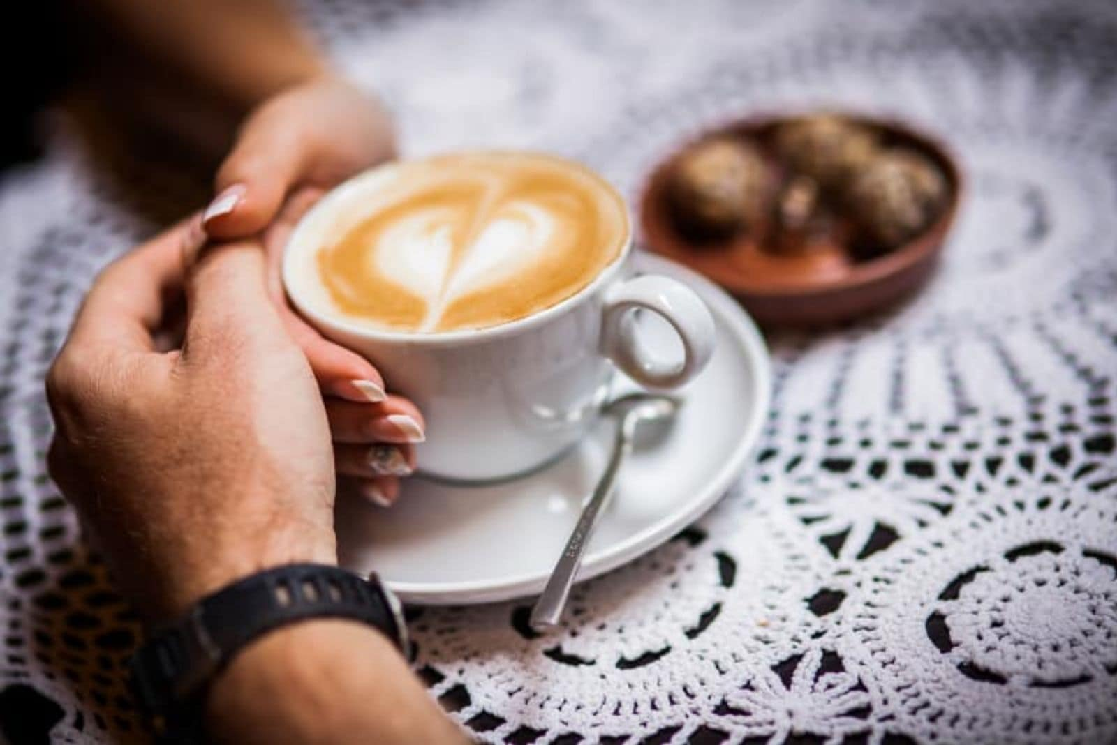 gently touch while drinking coffee