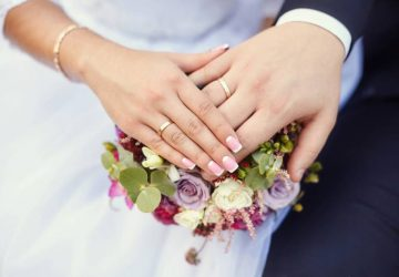 marriage couple holding hands with rings