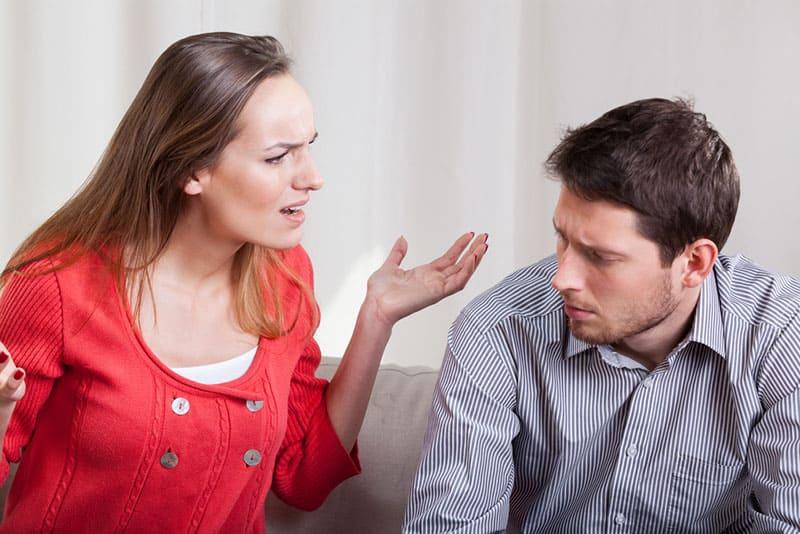 angry woman yelling at man