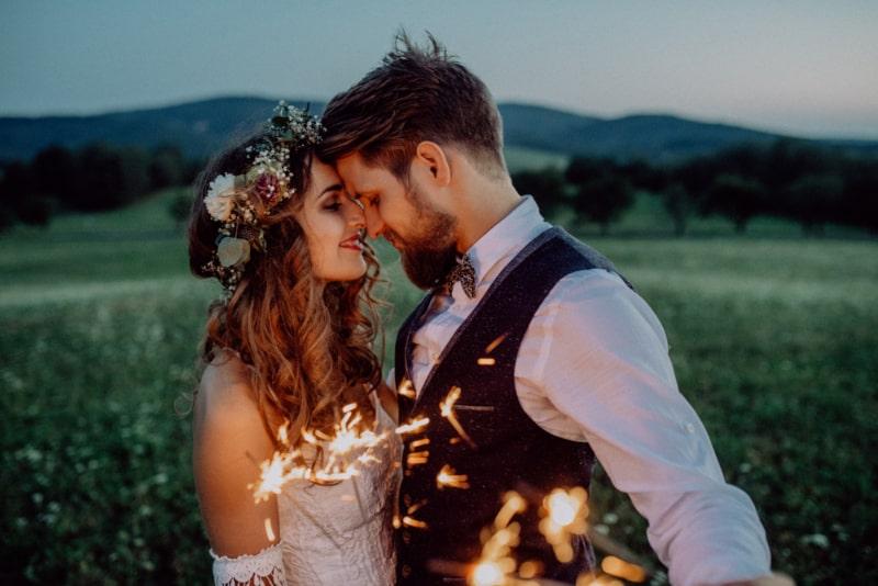 bride and groom taking shooting