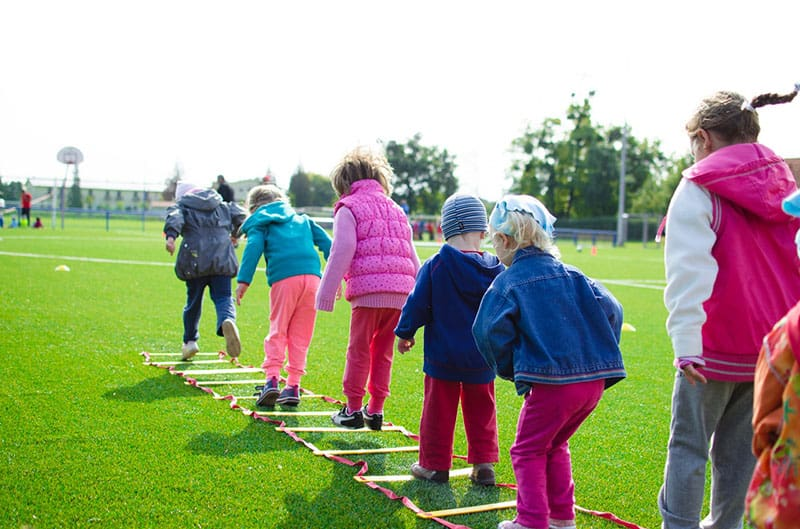 children playing lined up for a game