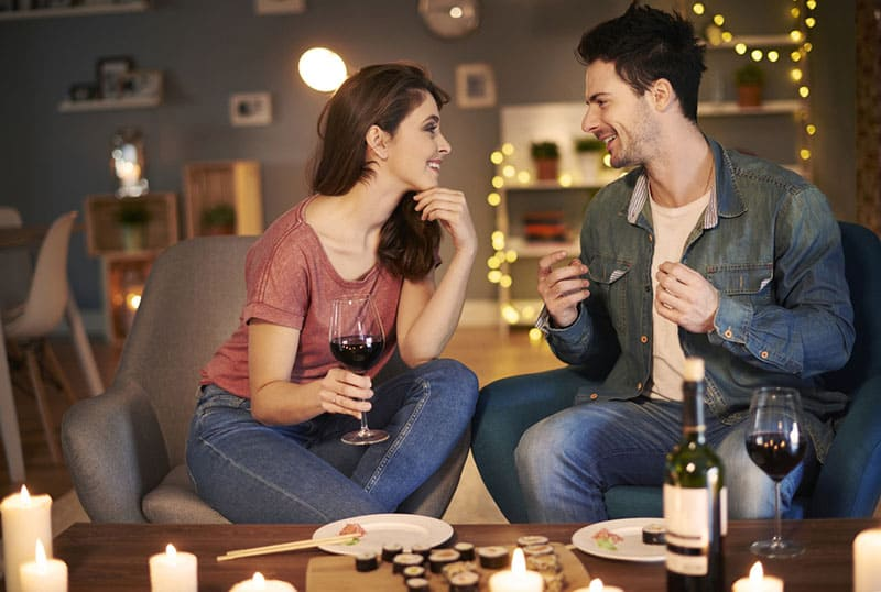 couple enjoying in the evening dinner