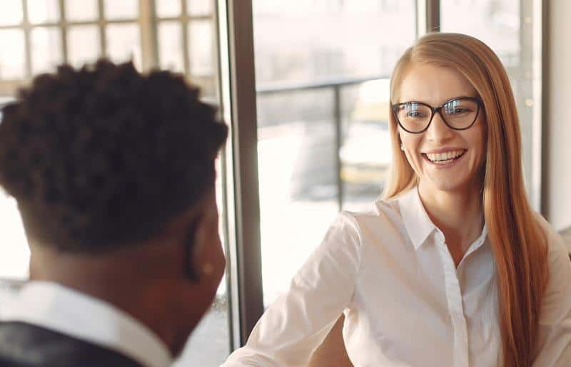 Happy man and woman having a conversation