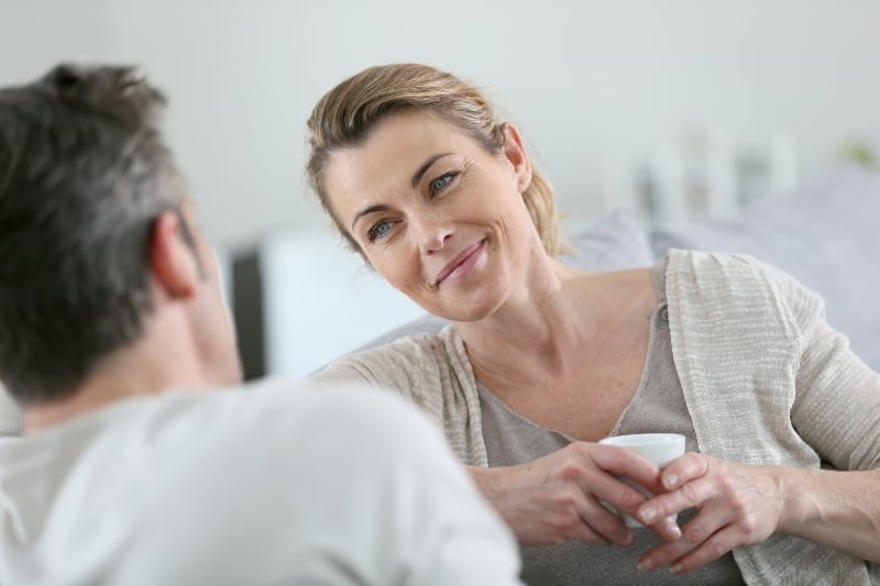 mature couple talking together