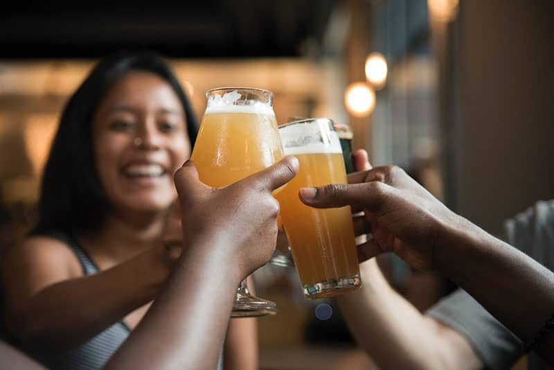 people cheers for drinking beer