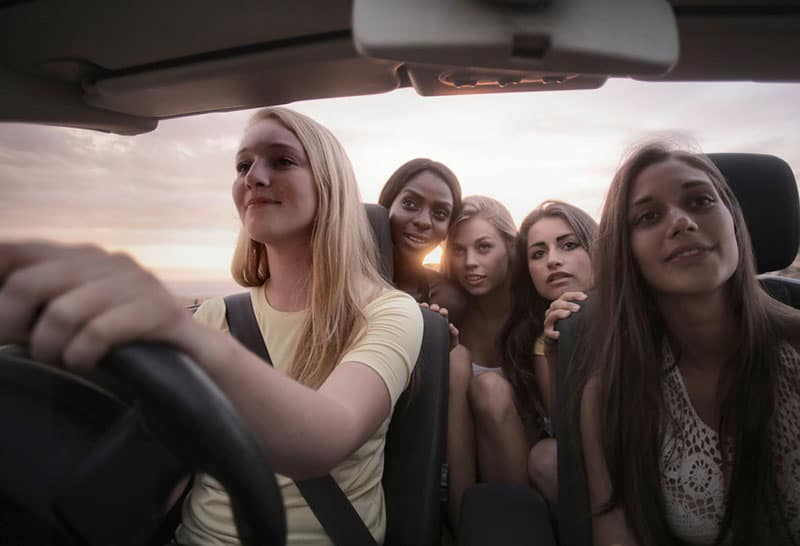 road trip with girl friends inside the car
