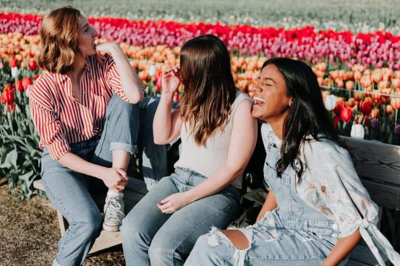 Three young girls sitting on a bench near a colorful tulip field