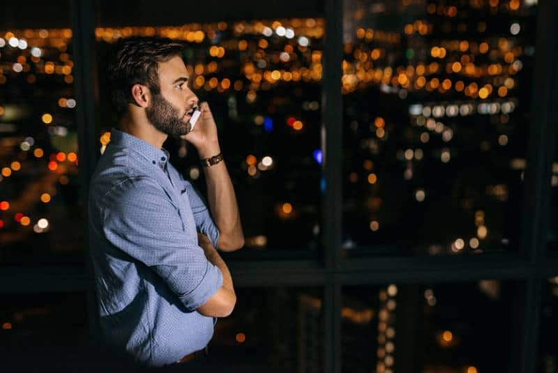 young businessman having a conversation on a smartphone