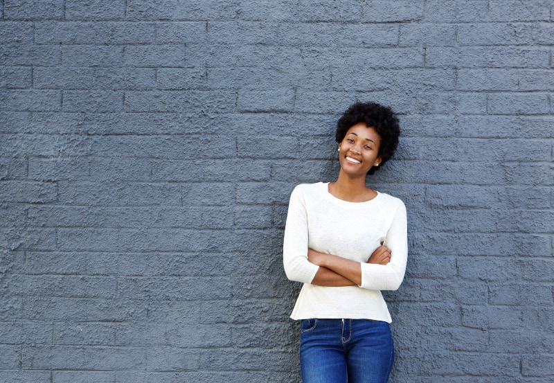 young confident and smiling africian woman