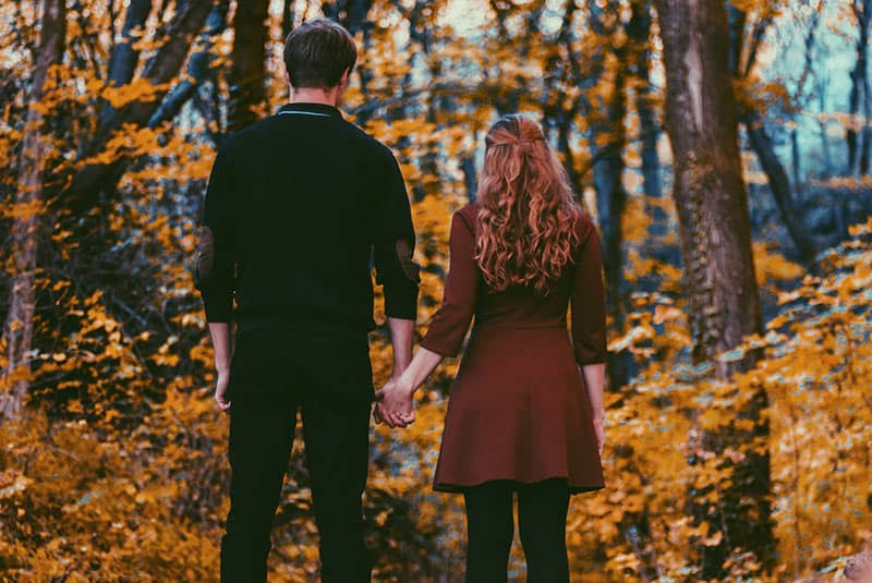 Backview of couple holding hands in front of autumn forest