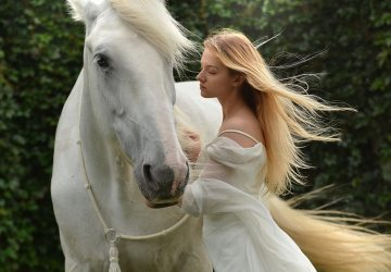 woman in white dress standing near white horse