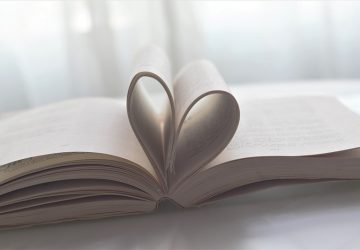 book pages formed as heart