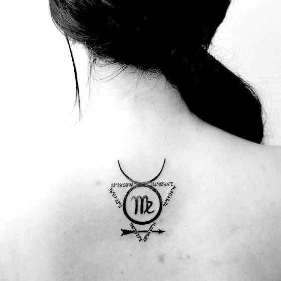 Virgo sign inside the sign of the Taurus tattoo on the back