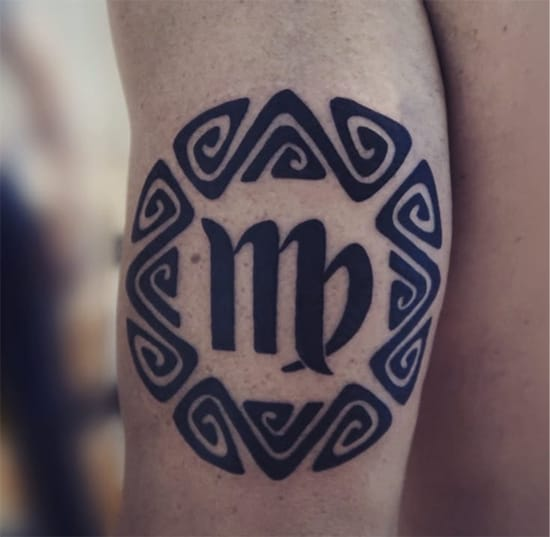 Virgo tribal tattoo with bold lines