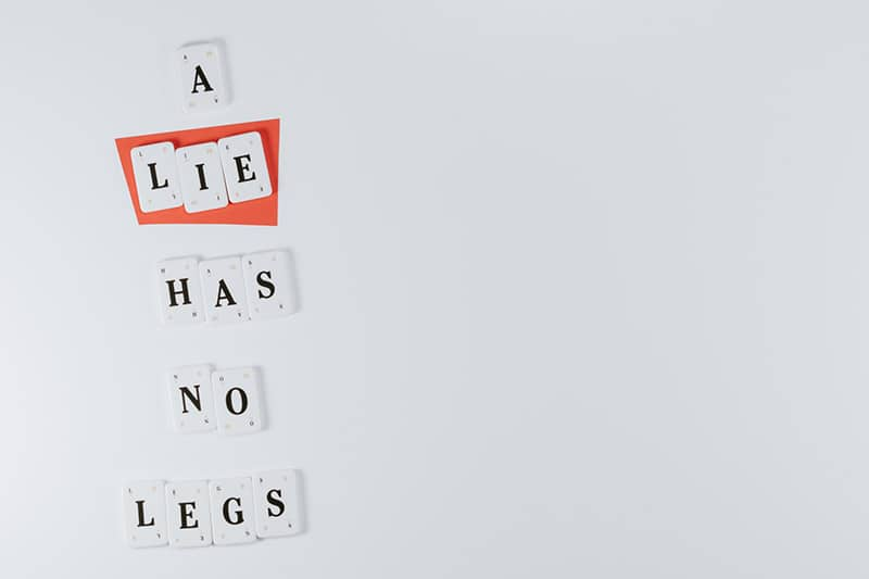 a lie has no legs made of scrabble letters