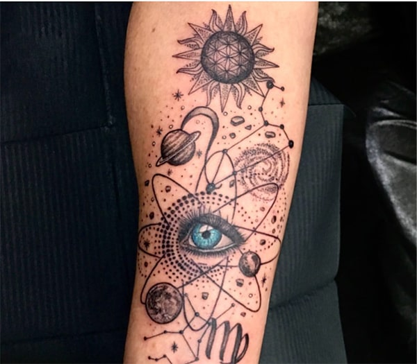 an eye surrounded with planets tattoo and Virgo symbol