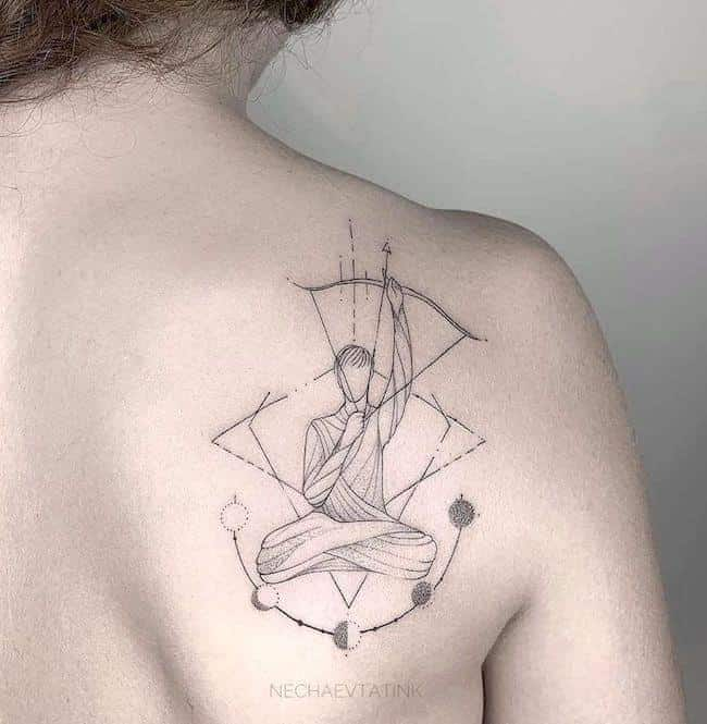 archer and moon phases tattoo on the back