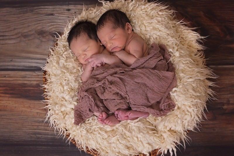 twin babies sleeping on blanket