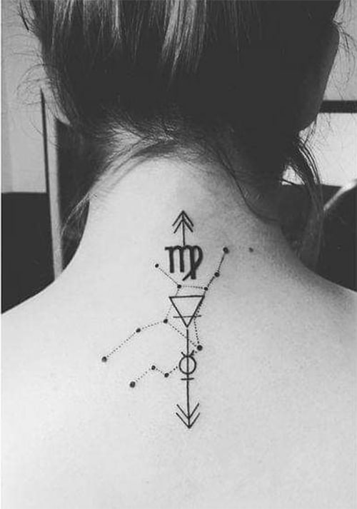 combination of numerous symbols in a geometrical style tattoo on the back