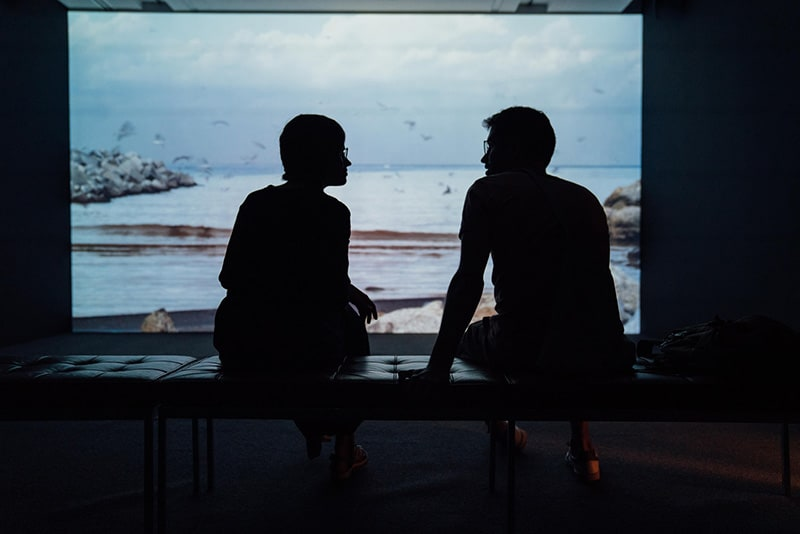 Coupl arguing inside in silhouette