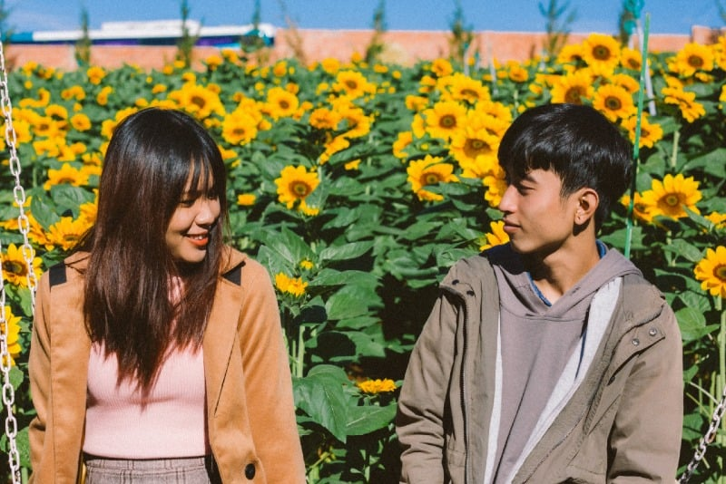 woman and man sitting near sunflowers during daytime