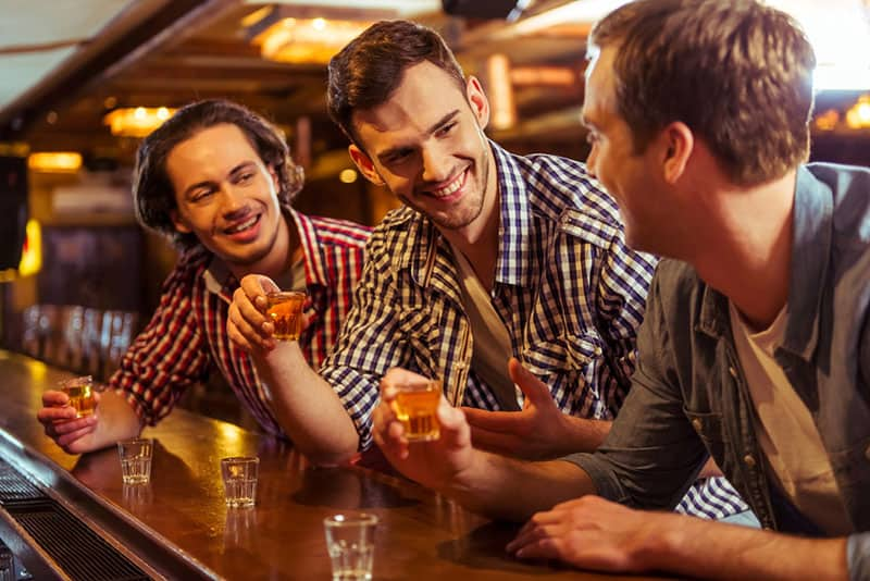friends drinking in the bar