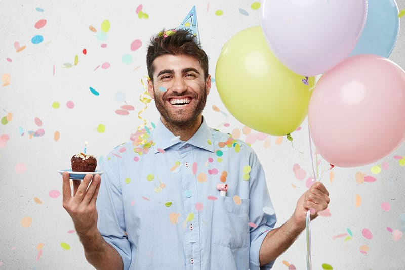 happy man celebrating birthday