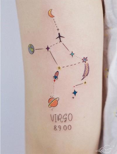 illustrations of Virgo constellation tattoo with word Virgo