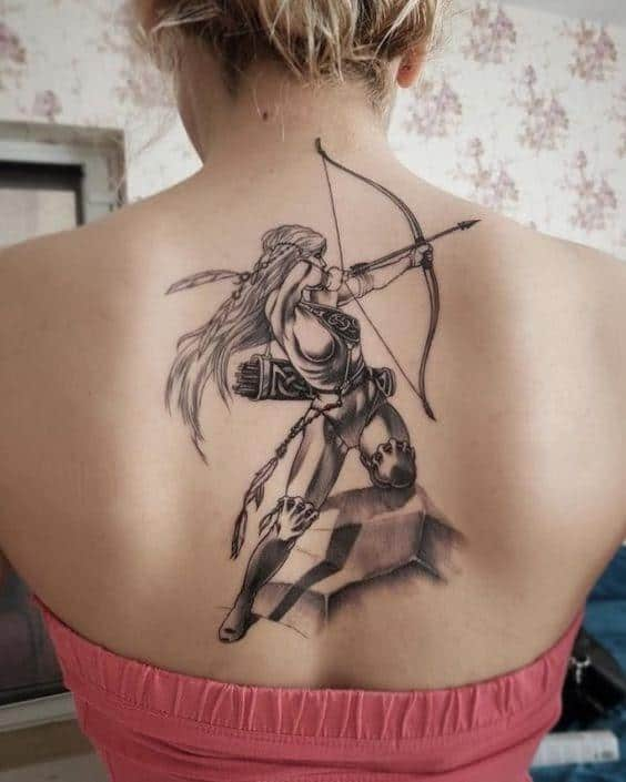large sagittarius girl bow and arrow tattoo on the back