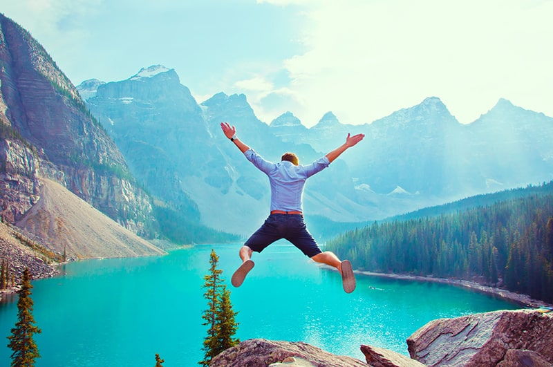 man about to jump from the cliff